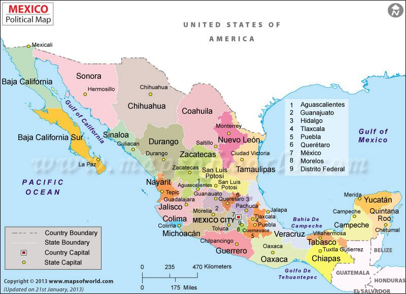 states provinces mexico