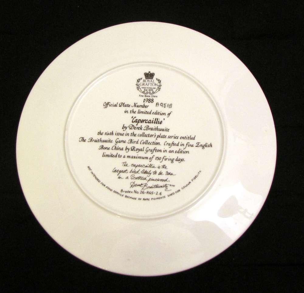1988 Royal Grafton Braithwaite Game Bird Collection Plate #6 Fine Bone