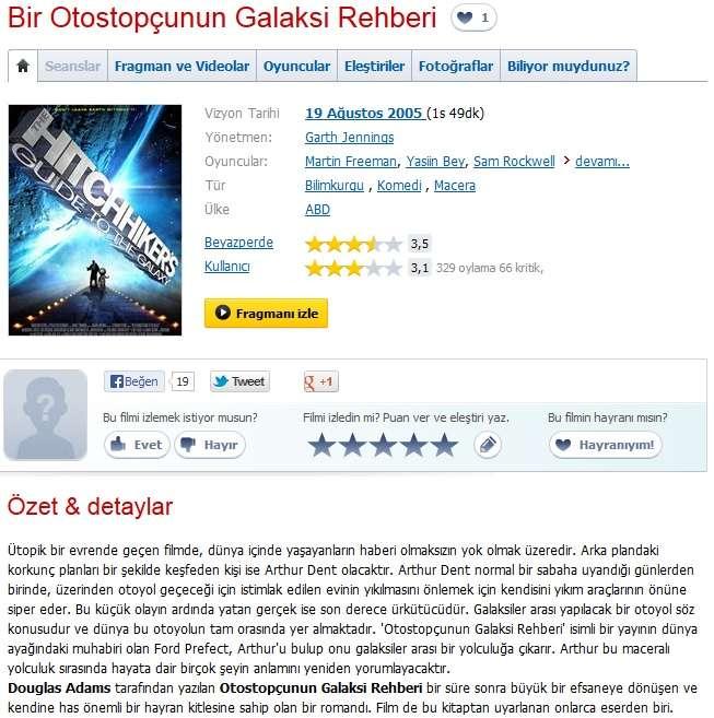 Bir Otostopçunun Galaksi Rehberi - 2005 BRRip XviD AC3 - Türkçe Dublaj Tek Link indir