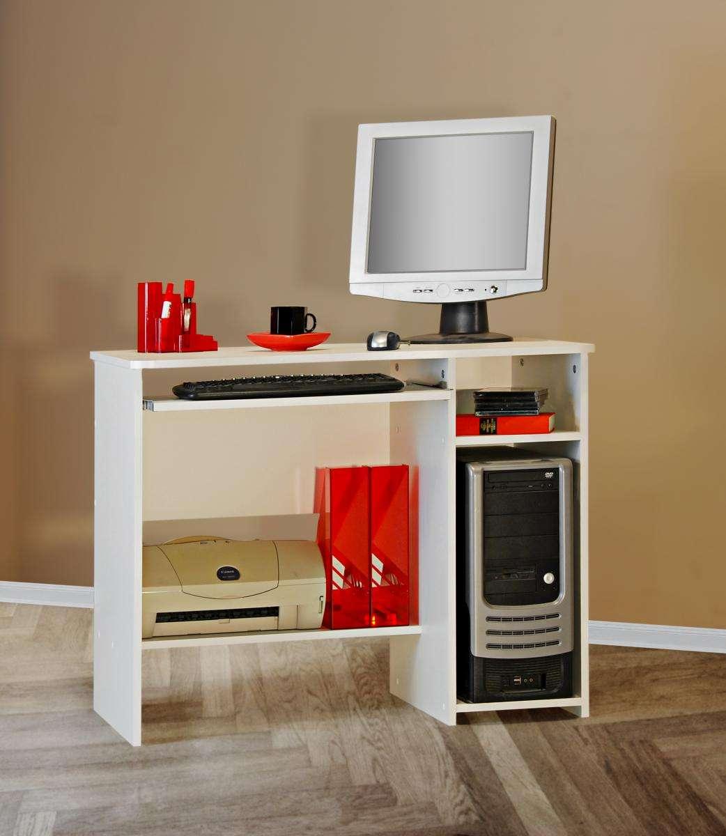 schreibtisch tisch computertisch wei kinder jugend nb klein kompakter pc ebay. Black Bedroom Furniture Sets. Home Design Ideas